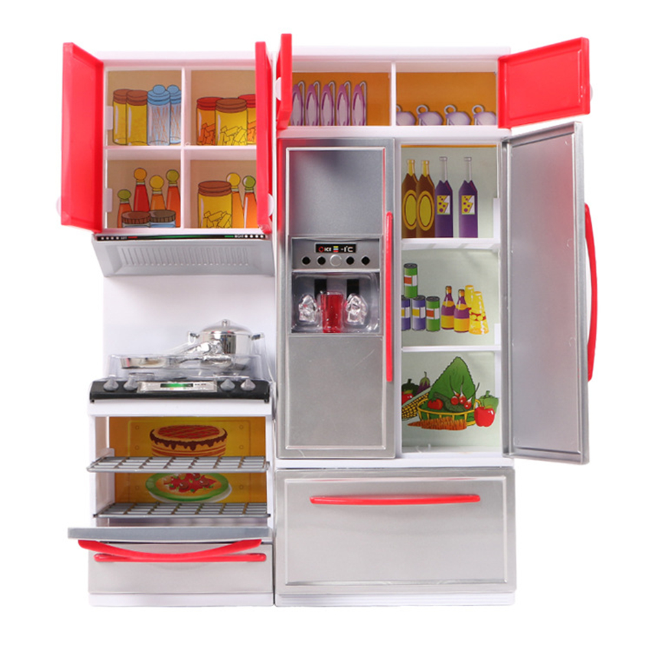Children Pretend Role Play New Red Mini Kitchen Cupboard Pretend Play Cooking Set Cabinet Stove Kids Girls Toy Gift