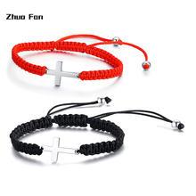 Original adjustable rope cross braided bracelet in black red