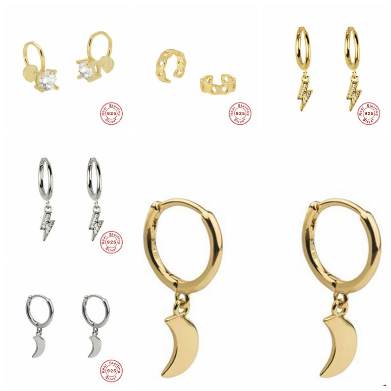 2019 New 925 Sterling Silver Hanging Stud Earrings For Women Moon Lightning Slice Charm Small Studs Earring A30