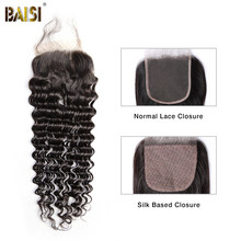 BAISI Brazilian Hair Lace Closure 100% Virgin Hair Deep Wave Free Part Middle Part Closure with Baby Hair(China)