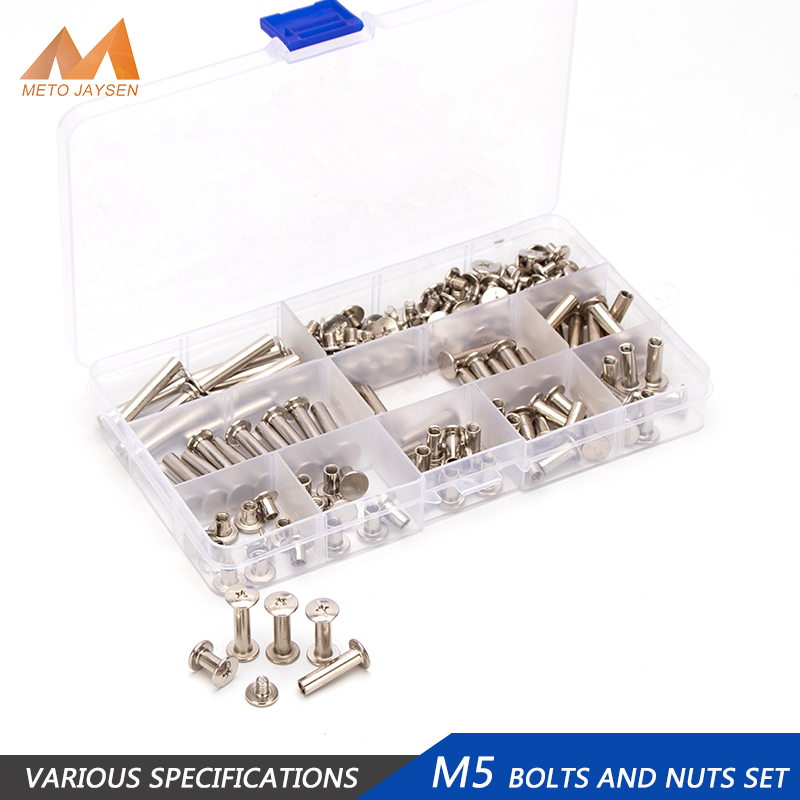 M5 Chicago Binding Screws Assorted Kit Nickel Brass Plated Phillips Screw DIY Leather Decoration Bookbinding 180PCS/60PCS
