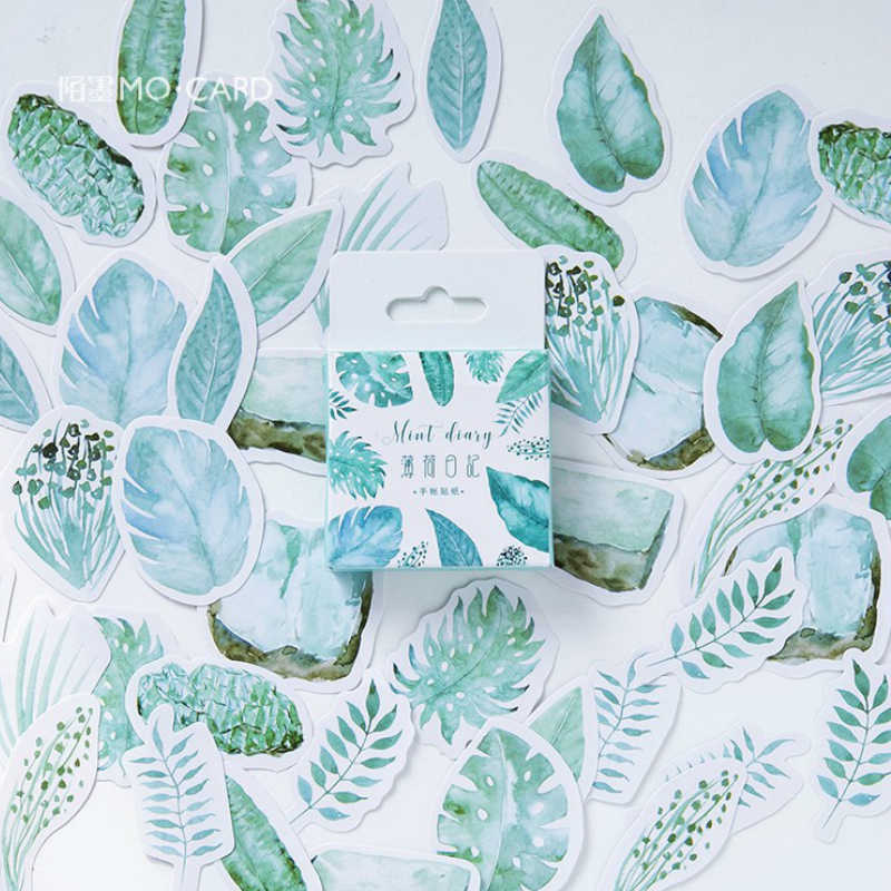 40Pcs/Pack Mint Leaf Stationery Stickers Doodling Travel DIY Sticker Car Motorcycle Luggage Laptop Bike Scooter Toys