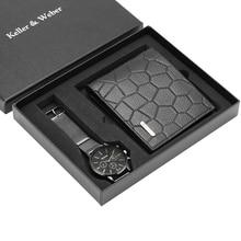 ผู้ชายนาฬิกาหนัง/สแตนเลสสตีลนาฬิกาธุรกิจผู้ชายกระเป๋าสตางค์ของขวัญชุดสำหรับสามีพ่อ relogios masculino