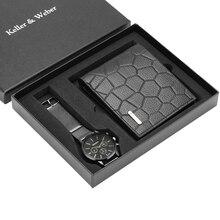 Męskie zegarki skóra/stal zegarek ze stali zespół biznes mężczyźni portfel z prawdziwej skóry zestaw podarunkowy dla męża tata relogios masculino