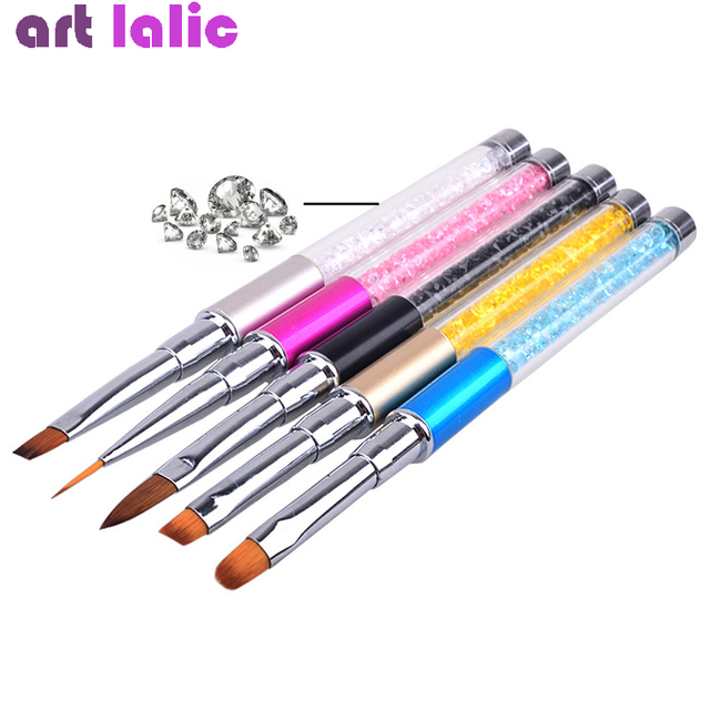 Nail Art Brush Pen Rhinestone Diamond Metal Acrylic Handle Carving Powder Gel Liquid Salon Liner Nail Brushes With Cap 1