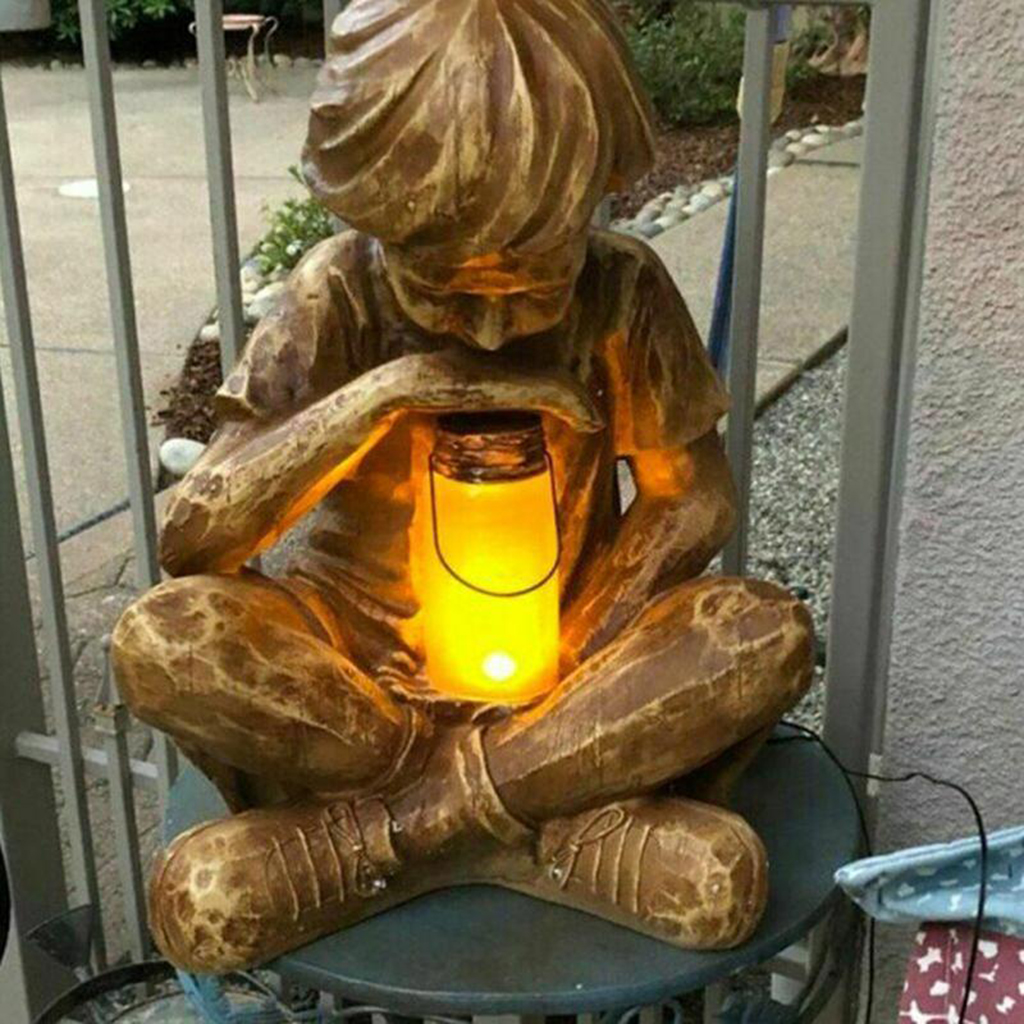God Boy Statue Sculpture Garden Decoration Resin Ornament with LED light Power Yard Figurine Statue Garden Accessories