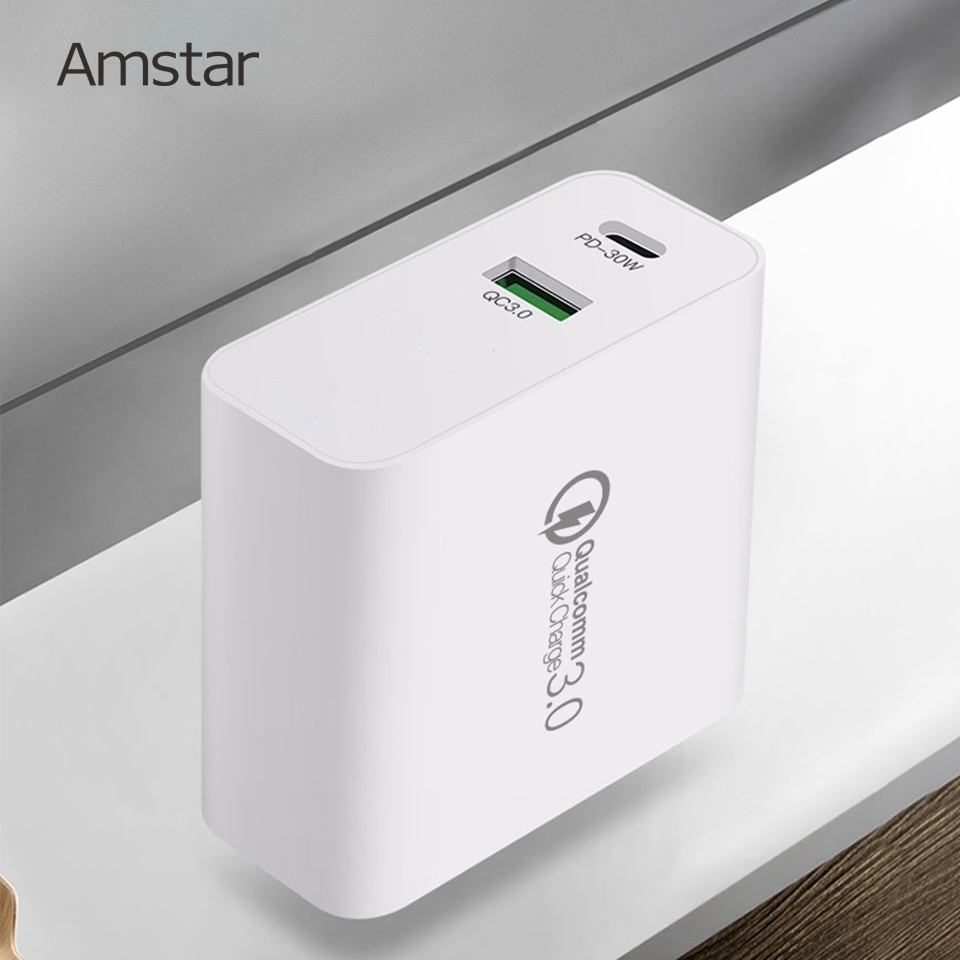 Amstar 48W Quick Charge QC4.0 3.0 USB <font><b>Charger</b></font> for iPhone 11 <font><b>Samsung</b></font> 10 Huawei PD 30W <font><b>Charger</b></font> <font><b>Type</b></font>-<font><b>C</b></font> Fast Charging Travel Adapter image
