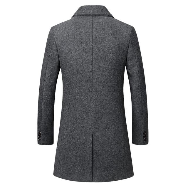 Winter Wool Jacket Men's High-quality Wool Coat casual Slim collar wool coat Men's long cotton collar trench coat 2