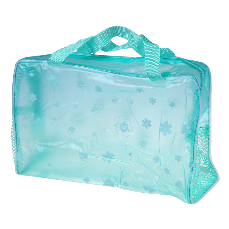 Floral Print Transparent Waterproof Cosmetic Bag Toiletry Bathing Pouch Green