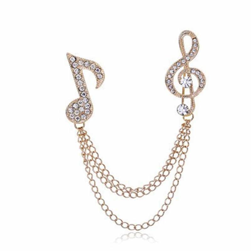 Menawan Musik Besar Catatan Bros Emas Perak Rantai Panjang Kristal Bros Antik Wanita Pria Pin Prom Blus Perhiasan
