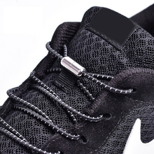 1 Pair Reflective Elastic Shoelaces Round Shoe laces No Tie Metal Lock Lazy Outdoor Leisure Sneakers Kids Adult Shoelace