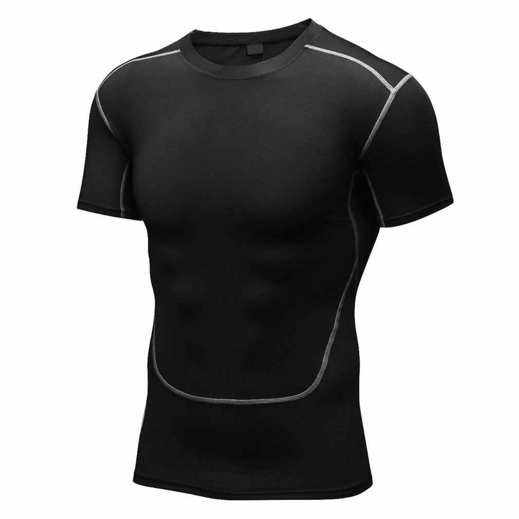 Yuerlian Breathable ชายกีฬาเสื้อยืดสบายแห้งเร็วแขนสั้นวิ่งกีฬา GYM การฝึกอบรม