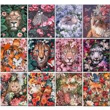 Peinture acrylique par numéros d'animaux et de fleurs, Art mural abstrait sur toile, peinture à l'huile peinte à la main pour maison