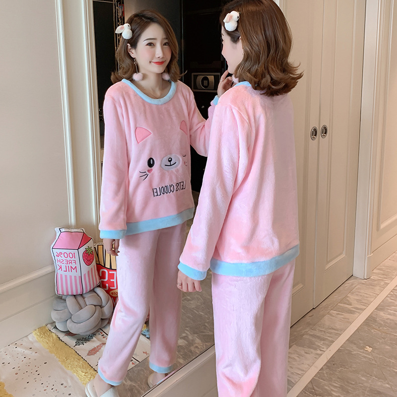 Betyline 2019 New Winter Pajamas For Women Sleepwear Warm Flannel Long Sleeves Pajamas Cute Animal Homewear Thick Homewear 138