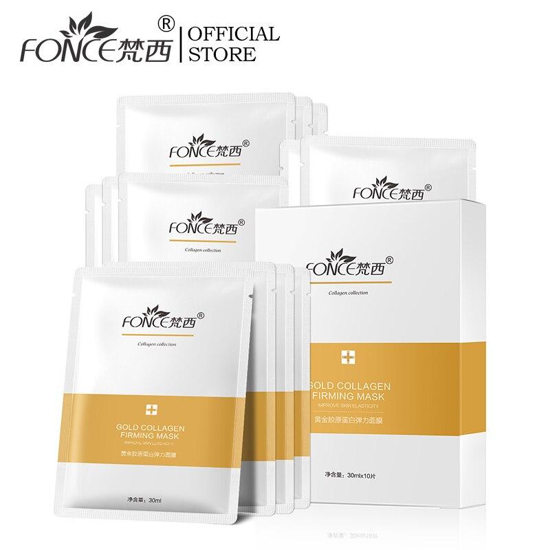 Fonce coreia ouro colágeno máscara facial 10 peça anti envelhecimento melhorar grosso rejuvenescimento apertado fade linhas finas clareamento clarear a pele