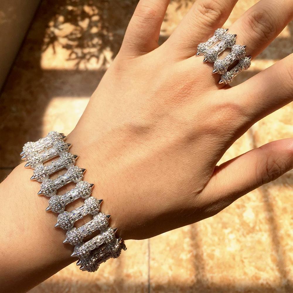 Nouveauté luxe mode géométrie Super complet cubique Zircon bracelet bague ensemble femmes robe de fiançailles fête bijoux