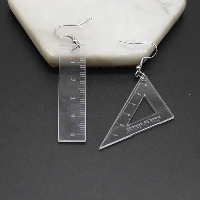 Criativo transparente 4 cores acrílico matemática geometria triângulo régua straightedge pingente aarrings senhoras jóias