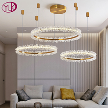 Iluminación moderna de araña de cristal para sala de estar, combinación de anillos dorados, arañas led, decoración del hogar, lustre, lámparas de cristal