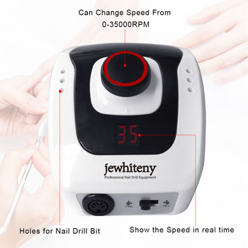 32W 35000RPM Electric Nail Drill manicure Machine File New Version of Copper Handle Nail Tool Kit Electric Nail File with Cutter 1