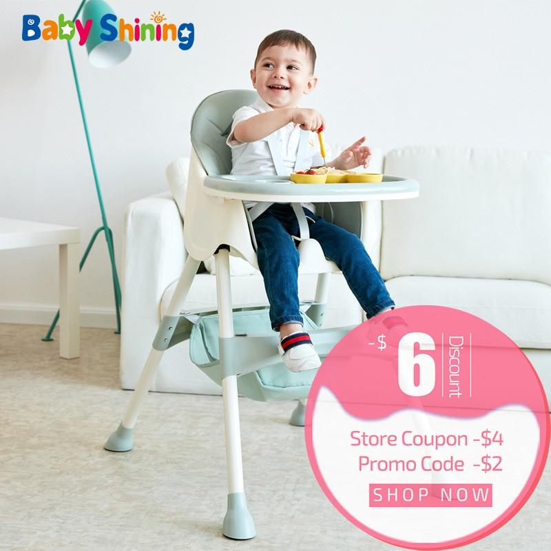 Bébé brillant enfants chaise haute alimentation à manger chaise Double Tables Macaron multi-fonction hauteur-ajuster Portable avec sac de rangement