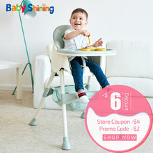Baby Shining Kids Highchair Feeding Dining Chair Double Tables Macaron Multi-function Height-adjust Portable with Storage Bag(China)