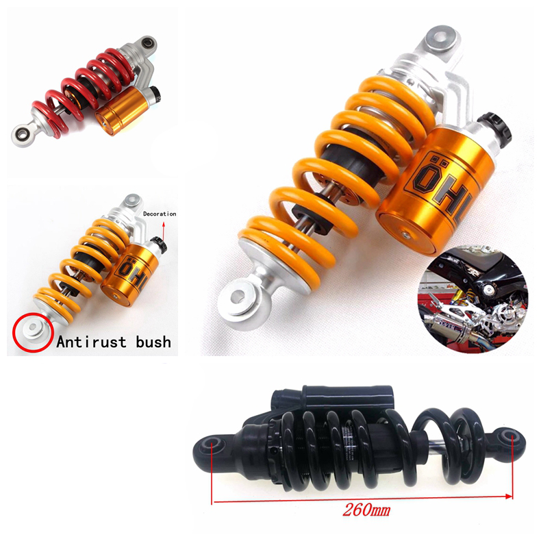 XDT Motorcycle Rear Suspension Center Shock Absorber 240mm 260mm Fit for Grom MSX125 MSX125 SF Fit for Benelli TNT125135 Fit for Kawasaki Z125 Pro Motorcycle Shock Absorber Color : Red 240mm