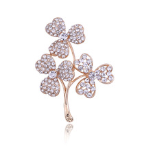 Young Tulip simple style clover shape brooch for women fashion   plant corsage rhinestone pin hollow out brooch new arrive gift chic hollow out flower rhinestoned brooch for women