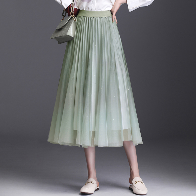 Sherhure 2020 Women Summer Boho Skirt High Waist Gradient Color Mesh Skirt A-Line Long Skirt Faldas Jupe Femme Saia