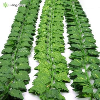 230cm πράσινο μεταξωτό τεχνητό κρεμαστό φύλλο κισσού γιρλάντα φυτά φύλλα αμπέλου 1pcs DIY dor σπίτι μπάνιο διακόσμηση διακόσμηση πάρτι κήπου