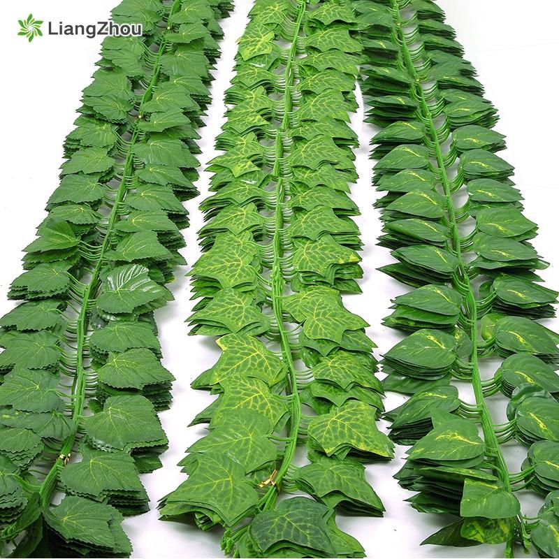 230cm de seda verde artificial hera folha plantas videiras folhas 1 pçs diy para casa decoração do banheiro decoração festa jardim