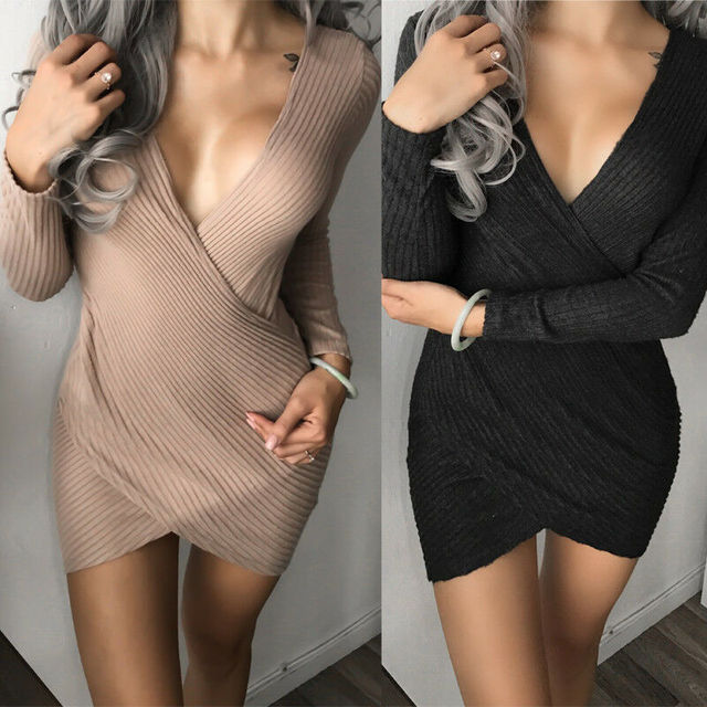 Fashion Womens Long Sleeve Cross Sexy V-Neck Solid Elegant Bodycon Party Cocktail Mini Dress New Autumn