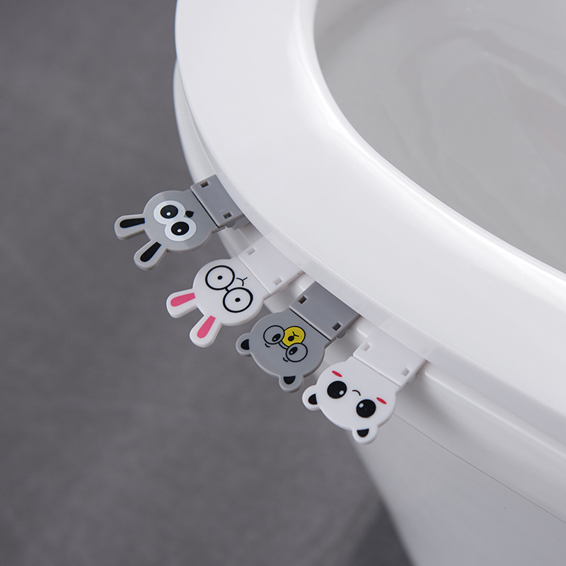 Foldable Cute Cartoon Animal Toilet Cover Not Dirty Hands Toilet Flip Handle