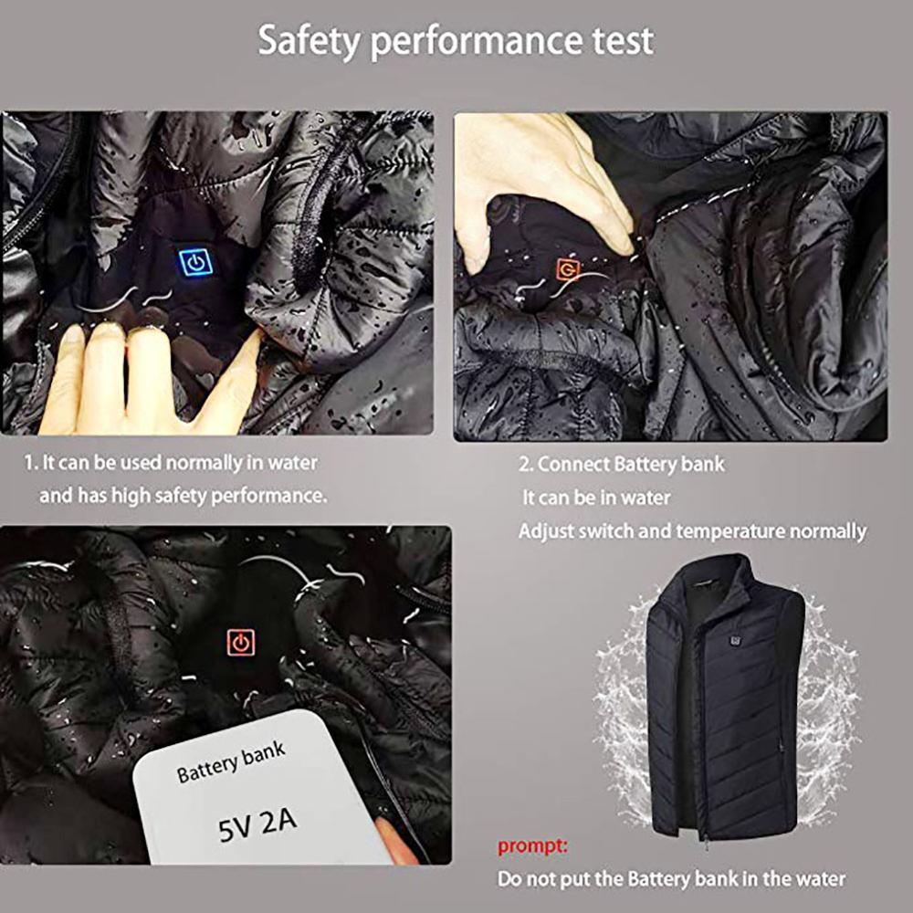 Image 4 - Electric Heated Vest Men Women Heating Waistcoat Thermal Warm Clothing Usb Heated Outdoor Vest Winter Heated JacketJackets   -