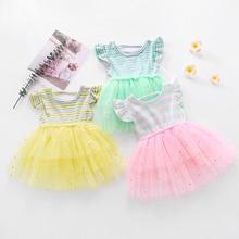 Summer Kids Dress For Girls Ruffle Sleeve Girls Casual Dress Rainbow Striped Lace Tutu Dresses For Girl vestidos de verano D30 girls rainbow print striped dress