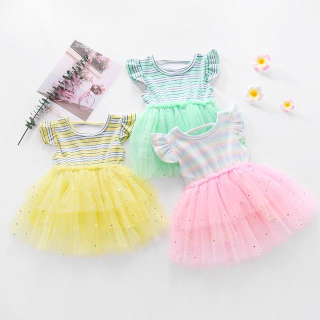 Summer Kids Dress For Girls Ruffle Sleeve Girls Casual Dress Rainbow Striped Lace Tutu Dresses For Girl vestidos de verano D30