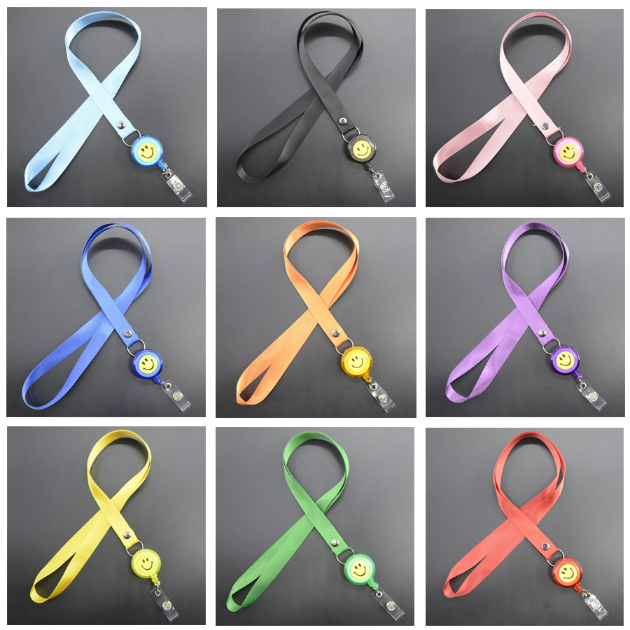 Badge Holder Retractable Lanyard Badge Reel Nylon Cord Neck Lanyard Strap For ID Card Key Office Business Exhibition Supplies