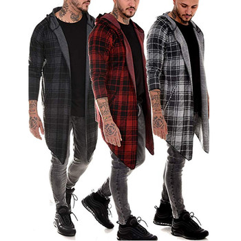 Men Hot New fashion brand Casual Open Stitch Hooded Long Cloak Cape Coat Men  Solid Pocket Loose Clock Coat drawstring waist letters embroidered multi pocket hooded long sleeves thicken coat for men
