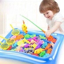 Детская 14 шт./компл. Магнитная рыбалка родитель-ребенок интерактивные игрушки с изображением популярной игры 1 стержень 1 сетью 12 3D рыбы детские игрушки для ванной игрушки для улицы