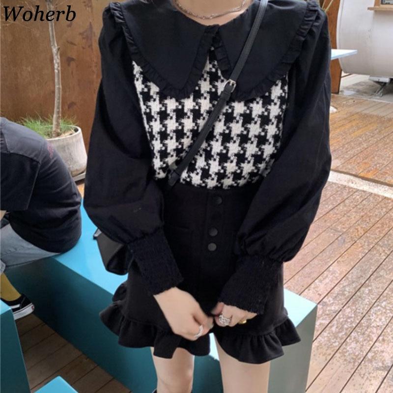 Woherb 2020 mode coréenne chemises Patchwork Plaid Blouses femmes Blusas De Mujer col claudine Blouse ample hauts femme 4G209