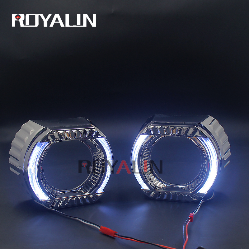 ROYALIN DRL Car LED Projector Lens Shrouds 3.0 Inch White Halo Daytime Running Lights Auto Styling Masks For Hella  Koito Q5 DIY