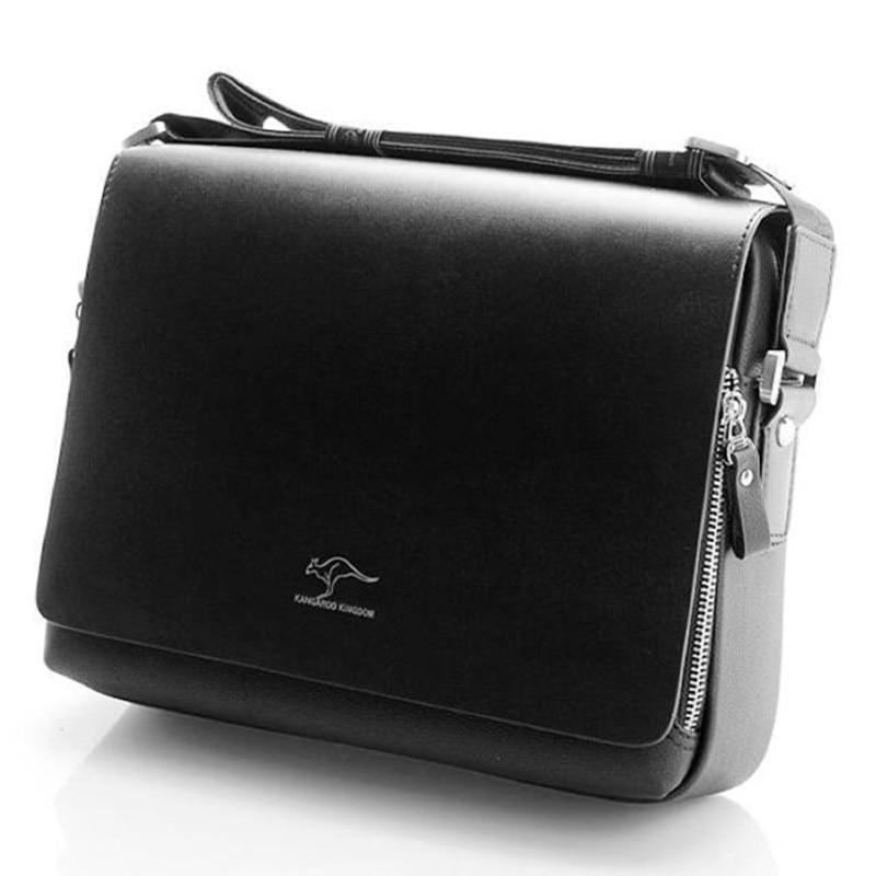 Men's Luxury Brand Kangaroo Briefcase Business Office Shoulder Bag Computer Laptop Bag PU Leather Messenger Bag Solid Travel Bag