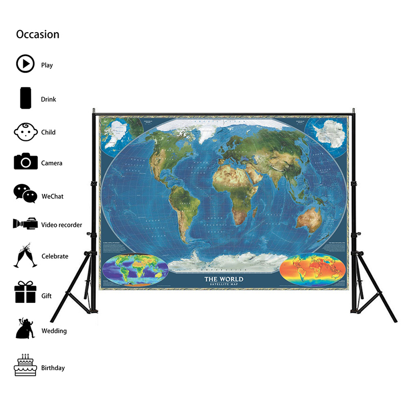 Surface Temperature Map 150x100cm Non-woven Spray World Map The World Satellite Map For Office Living Room Wall Decor