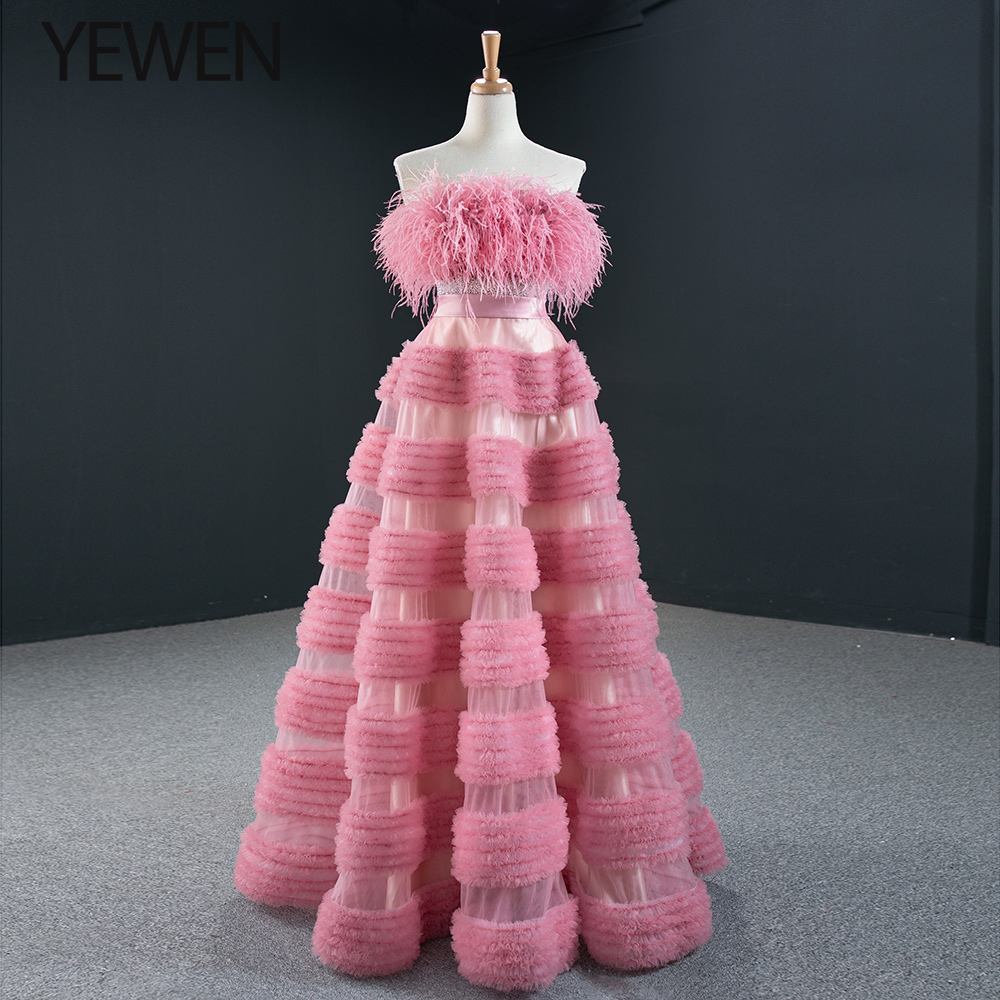 New Arrival Pink Prom Dresses 2020 YEWEN Women Pink Sleeveless A-line Feather Crystal  Party Dresses robe de soiree