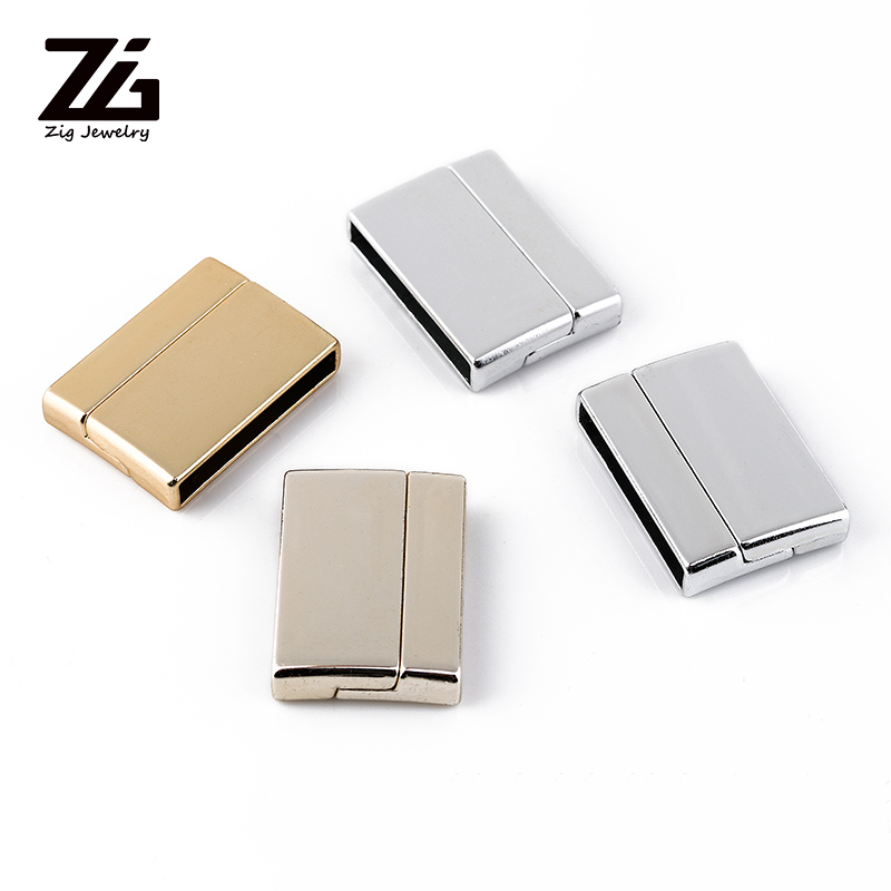 ZG 20*20mm Strong Magnetic Clasps New Design Leather Bracelet Connection Gold Silver DIY Jewelry Findings Making