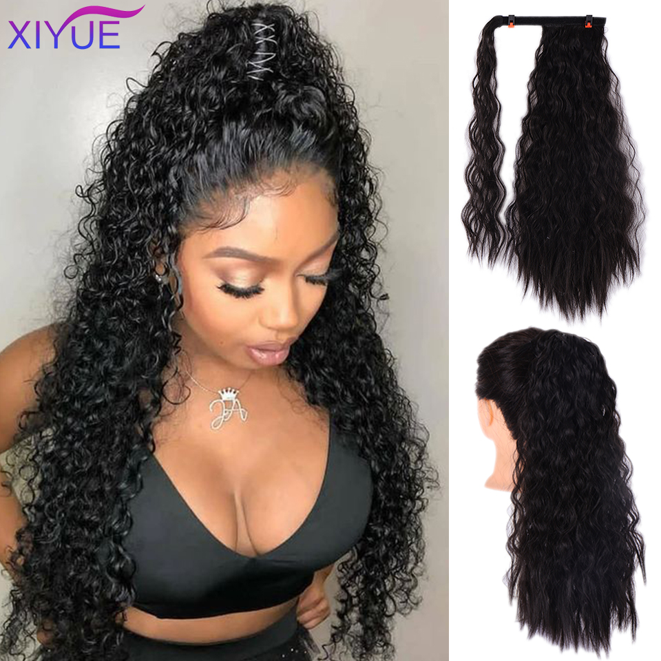 Long Afro Ponytail Synthetic Hairpiece Wrap On Clip Hair Extensions Corn Wavy Pony Tail Kiny Curly Hair Headwear