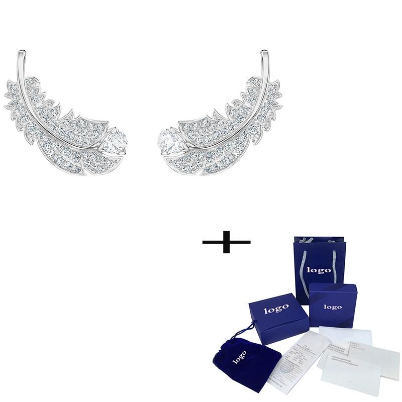 SWA  Fashion New Shiny Feather Pattern Crystal Pierced Earrings Elegant Simple Lady Luxury Jewelry Romantic Gift  Unique Retro