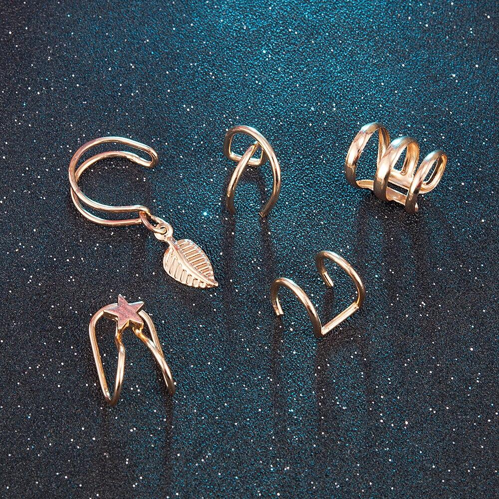 Mode 5 Teile/satz Ohr Manschetten Gold Blatt Ohr Manschette Clip Luxuriöse Ohrringe für Frauen Earcuff Punk Piercing Gefälschte Knorpel Ohrringe