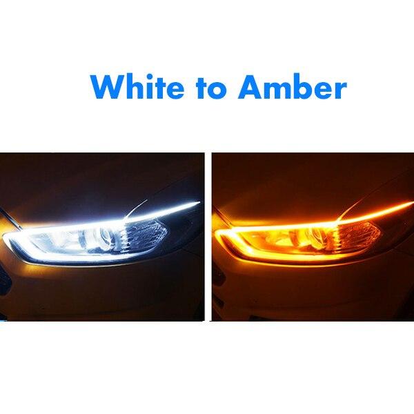 1 шт. новейший автомобиль DRL светодиодный дневные ходовые огни авто течёт указатель поворота направляющая полоса фары в сборе аксессуары для стайлинга автомобилей - Цвет: White To Amber