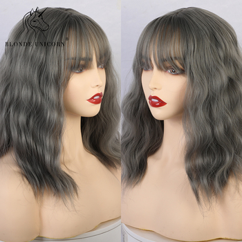 Blonde Unicorn 14 Inch Synthetic Short Curly BoB Wigs with Bangs Milk Tea Ombre Color Natural Hair Cosplay Party for Women - discount item  53% OFF Synthetic Hair