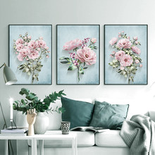 Nordic Green Plants Hand Painted Roses Canvas Painting Flower Posters and Prints Wall Art Picture Living Room Home Decoration